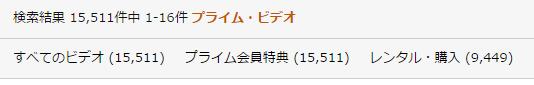 プライム会員が無料で見れるプライムビデオの作品数はなんと15511本!