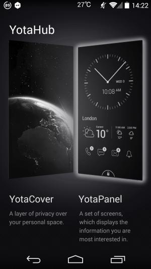 設定→YotaHub→YotaCover から背面に表示する壁紙を設定できます。