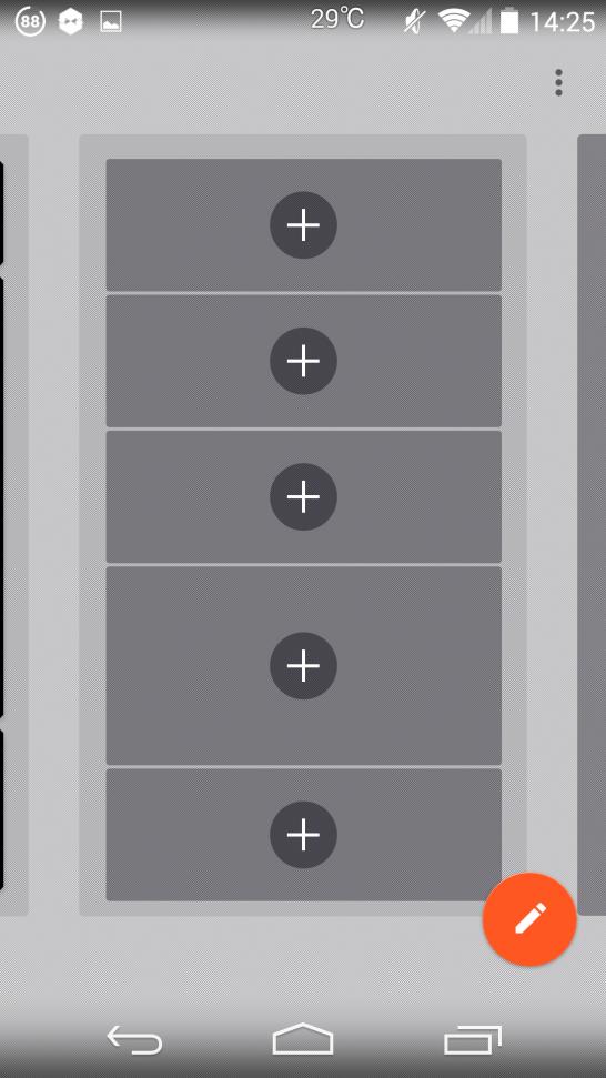 グリッドを選択するとウィジェットを追加できます。 ウィジェットを使いするには+を押します。