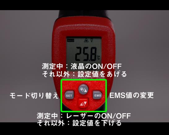 ボタンの説明です。 ボタンは少ないですが、必要な機能を備えていると思います。