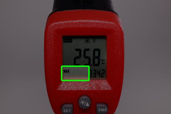 この温度計にはいくつかのモードがあります。 液晶左下の緑の枠内を見るとモードがわかります。