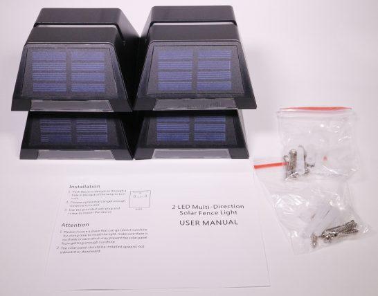 ライト本体、説明書、取り付けに使うネジ類が入っています。
