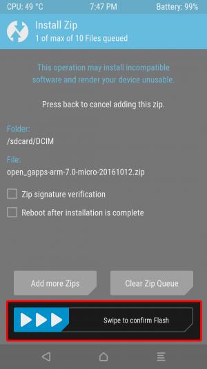 「open_gapps-arm-7.0-micro-20161012.zip」を選択して画面下の方の「Swipe to confirm Flash」をスワイプしてインストールします。