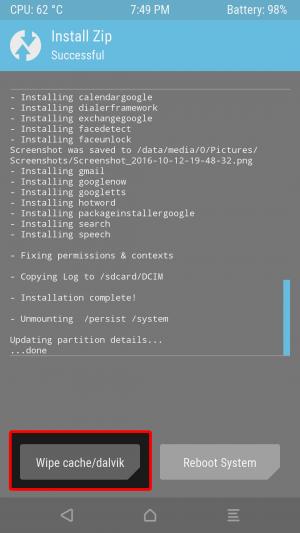 ログが流れ終わって下にボタンが出ればインストールは完了です。 「Wipe cache/dalvik」をタップします。