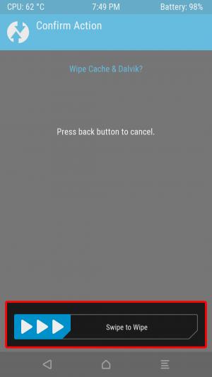 画面下「Swipe to Wipe」をスワイプしてキャッシュ領域をクリアします。 これで作業は完了です。