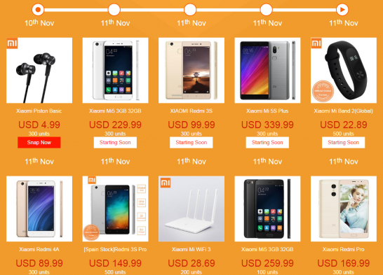 Xiaomi製品のセール特設ページ。 Mi 5S PlusやMi5と言ったフラッグシップモデルも安くなるようです。
