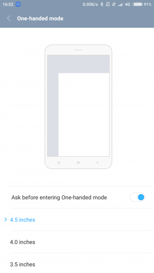 One-handed modeの設定画面